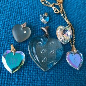 Jewelry - 6 crystal glass heart charm pendants 1 Lenox lot